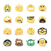 Vector illustration of a collection of cute colorful and hand drawn emoticons