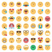 Vector illustration of a colorful and cute collection of emoticons