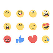 Vector illustration of a set of cute and cartoon basic emoticons