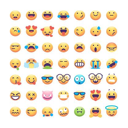 Emoticons collection wide face color gradient