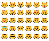 Emoticons collection with yellow cats. Emoji for chat. Vector illustration set with cats faces in line style
