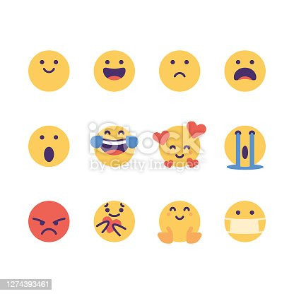 Vector illustration of a collection of cute and flat designed emoticons depicting the essential human emotions. Cut out designs for social media platforms, online messaging apps, online dating, human emotions and feelings, ideas and concepts, global communications and connections.