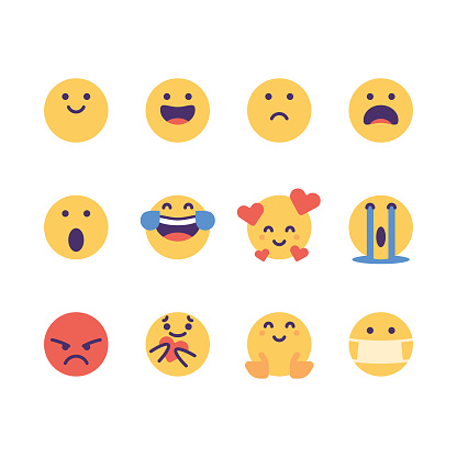 Emoticons cute colorful essential pack