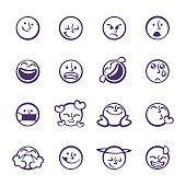 istock Emoticons cute line art set 1297902980