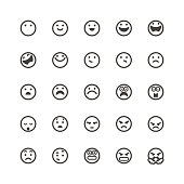 Vector illustration of a set of 25 cute and flat design line art emoticons for web page designs, print design projects and any other social media project.