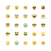 Vector illustration of a set of 25 cute and flat design emoticons for web page designs, print design projects and any other social media project.