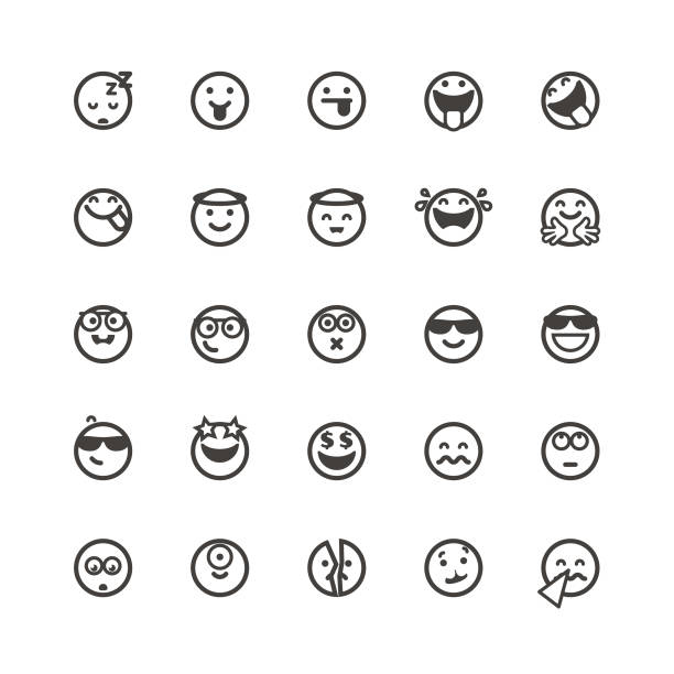 Emoticons cute set 4 vector art illustration