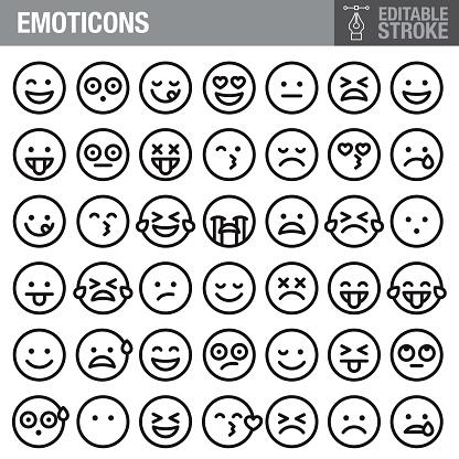 Emoticons Editable Stroke Icon Set