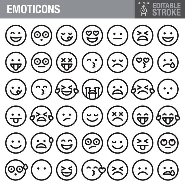絵文字編集可能ストロークアイコンセット - emotions点のイラスト素材/クリップアート素材/マンガ素材/アイコン素材