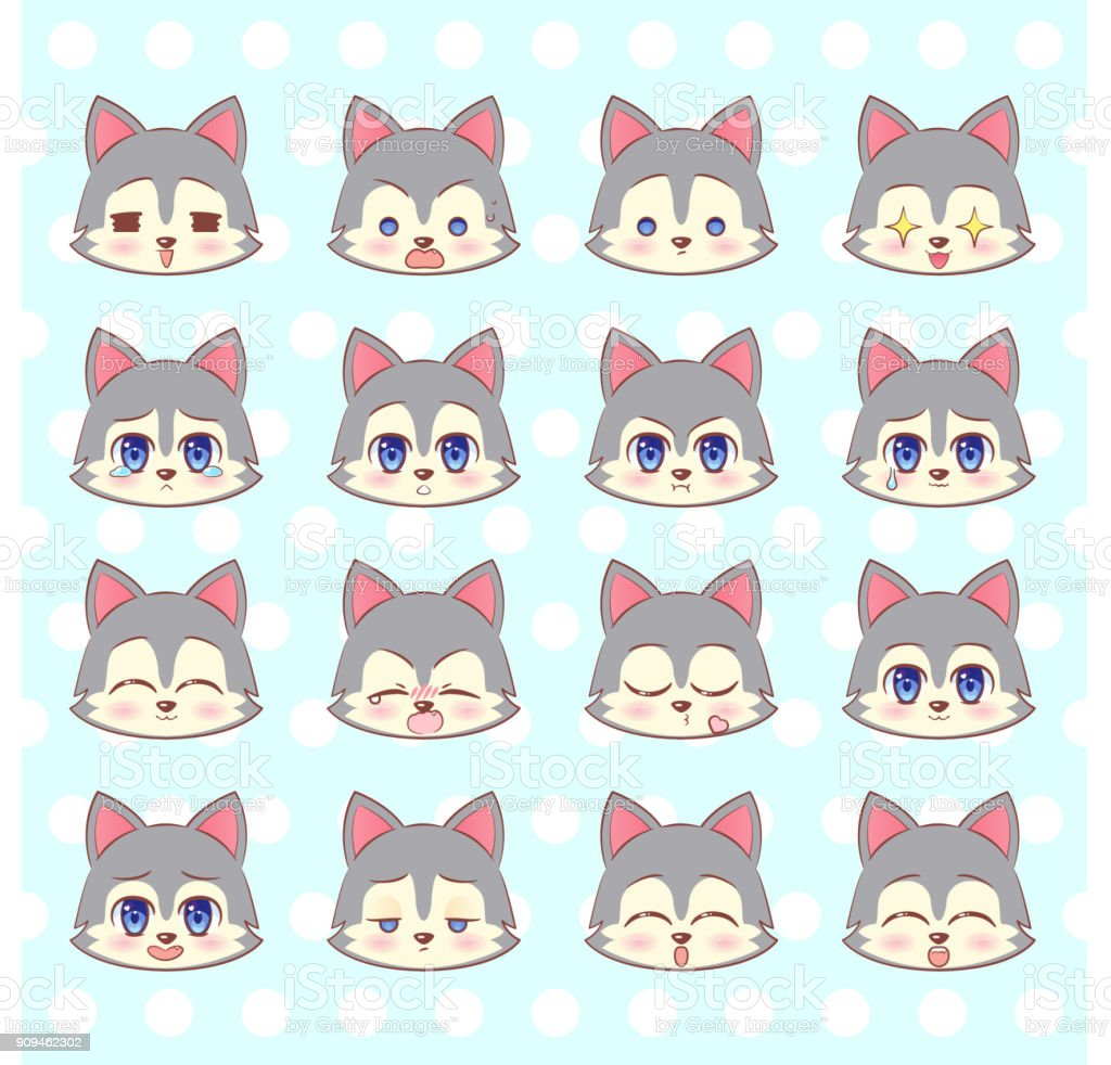 Emoticones Emoji Smiley Ensemble Colore Sweet Kitty Petit Loup De