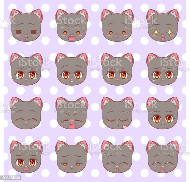 Emoticons emoji smiley set colorful sweet kitty little cute kawaii vector id909598008?b=1&k=6&m=909598008&s=612x612&h=es9ry2tdyft2pmpdjyx85a0gfhcz06svvbknhqr acc=