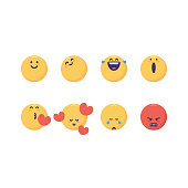 Vector illustration of a set of 8 essential emoticons for online messaging apps, social media platforms and all kinds of design projects, ideas and concepts. Great also for customer feedback and satisfaction, as well as technology and business projects.