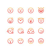 Vector illustration of a collection of essential emoticons with a color gradient and line art style. Perfect for social media and design projects, as well as business, presentations, marketing and customer focused and feedback projects.