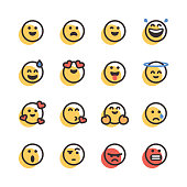 Vector illustration of a collection of cute emoticons in line art style and offset color. Perfect for design projects and social media designs.