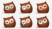 emoticons face owl icons.