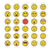 Emoticons Filled outline icon set, vector illustration