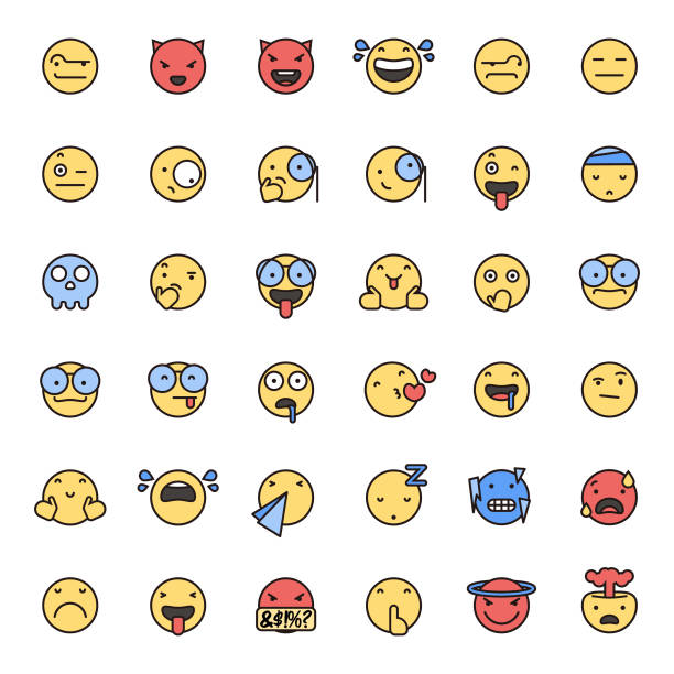 emoticons flat colors and thin line art set 3 - tears of joy emoji stock illustrations, clip art, cartoons, & icons