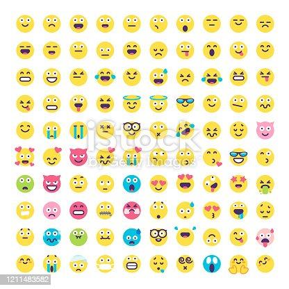 Emoticons flat design big collection