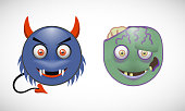 Set of smileys with two cute Monsters.