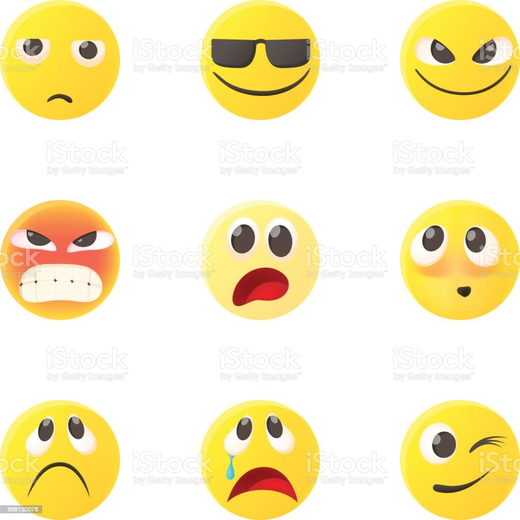Emoticons Icons Set, Cartoon-Stil – Vektorgrafik