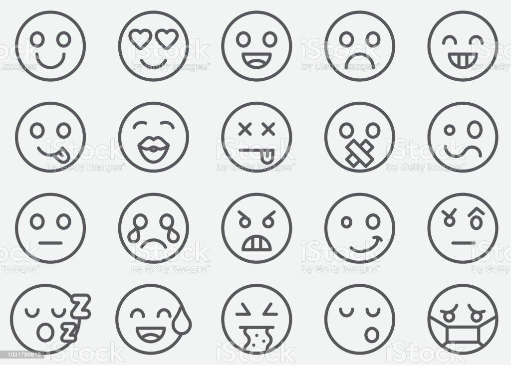 Emoticons ícones de linha - ilustração de arte em vetor