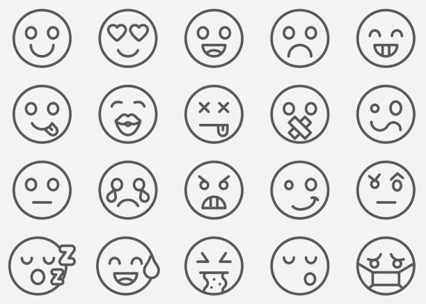 emoticons line icons - tears of joy emoji stock illustrations