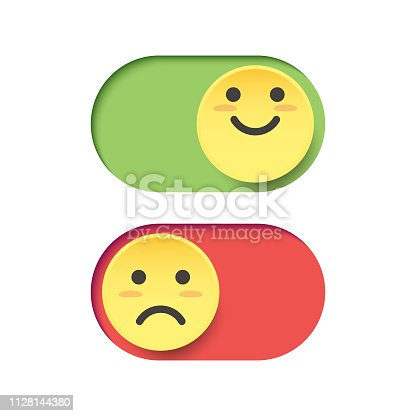 Vector illustration of a couple of emoticons depicting happiness and sadness on a switch