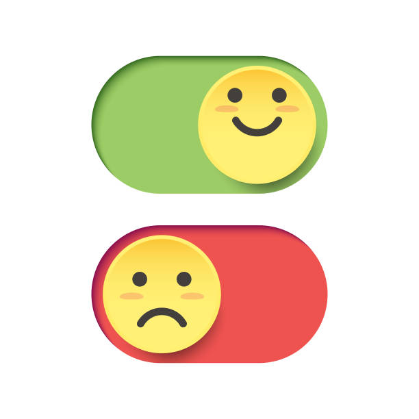 Emoticons on a switch Vector illustration of a couple of emoticons depicting happiness and sadness on a switch happiness stock illustrations