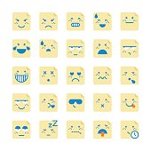 Vector illustration of a collection of emoticons drawn on adhesive notes