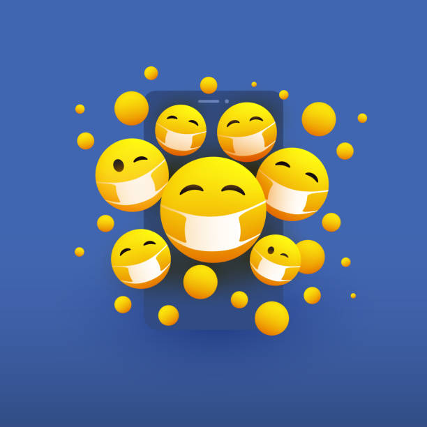 emoticons auf mobilem gerätebildschirmkonzept - smartphone mit corona app stock-grafiken, -clipart, -cartoons und -symbole