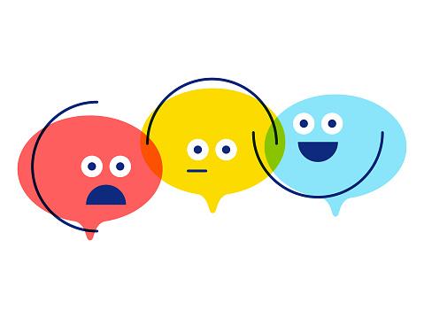 Emoticons on speech bubbles customer engagement