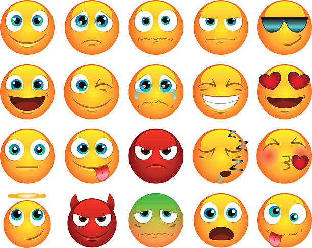 emoticons or smiley icons set - wütendes emoji stock-grafiken, -clipart, -cartoons und -symbole
