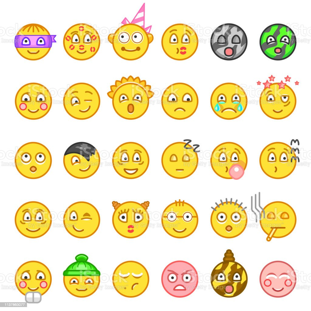 Emoticons Or Smileys Icon Set For Web Happy Sad Angry In