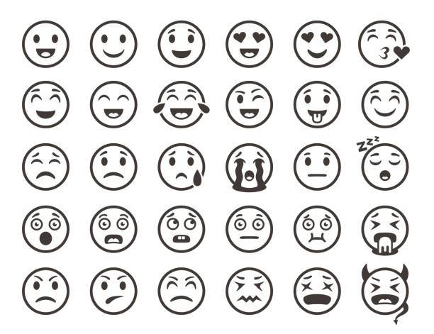 emoticons outline. emoji faces emoticon funny smile vector line icons - tears of joy emoji stock illustrations