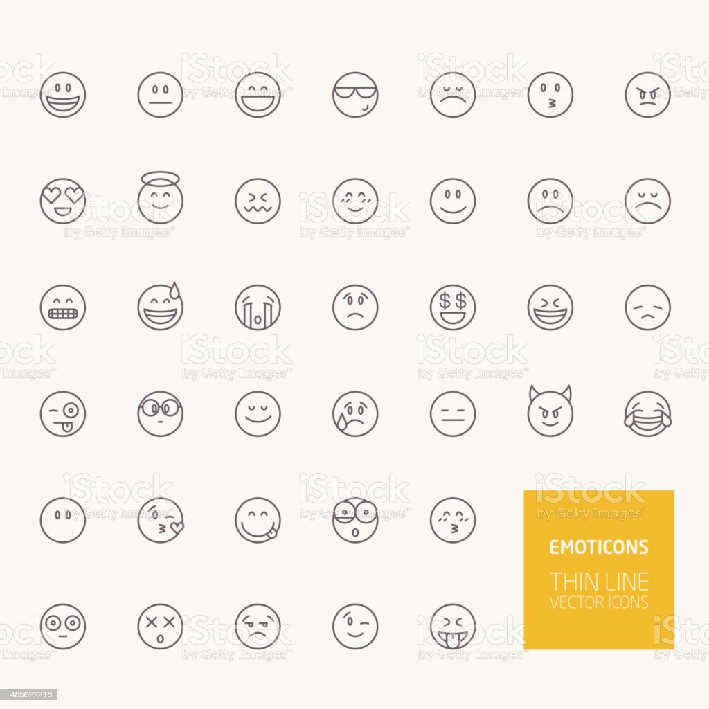 Emoticons Outline Icons for web and mobile apps vector art illustration