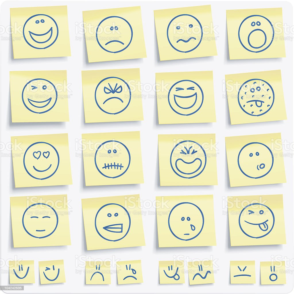 Emoticons postit notes vector art illustration