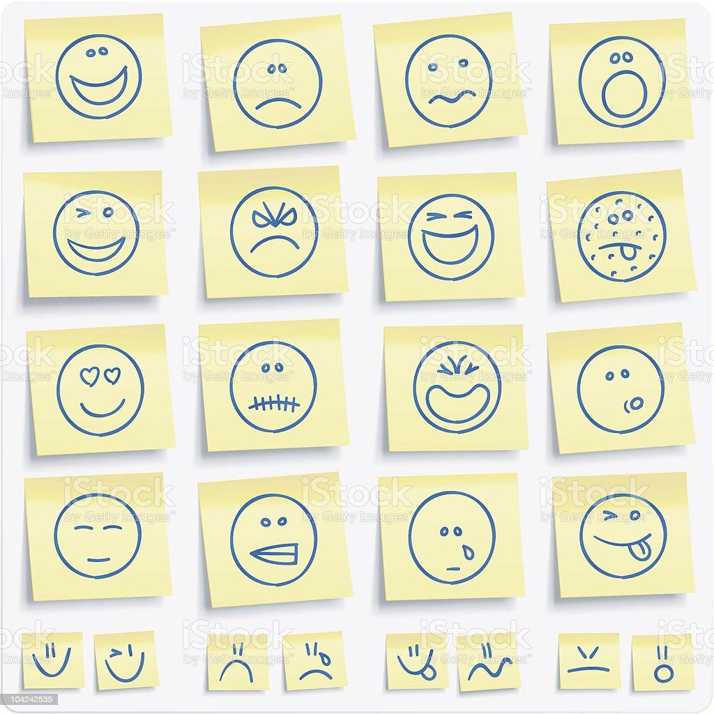 Emoticons postit Notas - ilustración de arte vectorial