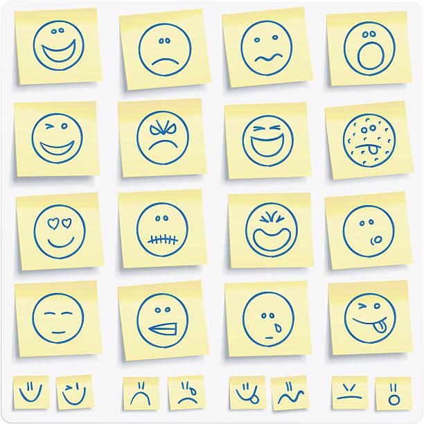 ilustraciones, imágenes clip art, dibujos animados e iconos de stock de emoticons postit notas - lágrimas de emoji alegre
