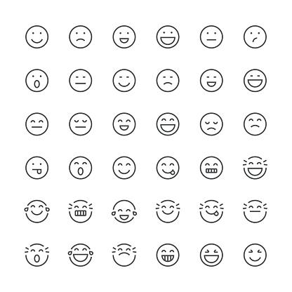 Emoticons set 1 | Thin Line series clipart