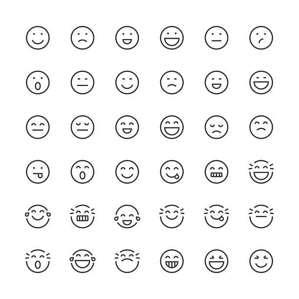 Emoticons set 1 | Thin Line series Set of 36 thin line designed emoticons happiness stock illustrations