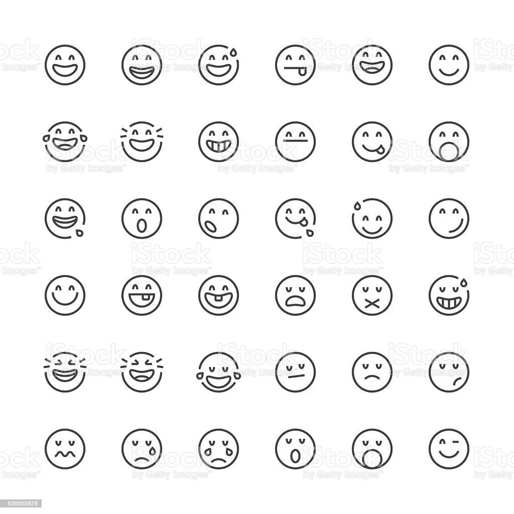 Emoticons 10/línea fina de la serie - ilustración de arte vectorial