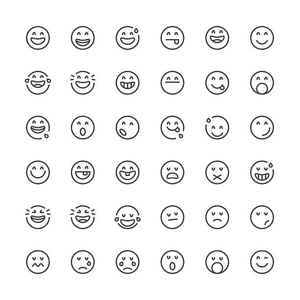 ilustraciones, imágenes clip art, dibujos animados e iconos de stock de emoticons 10/línea fina de la serie - emoji perezoso