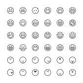 Emoticons set 11 | Thin Line series