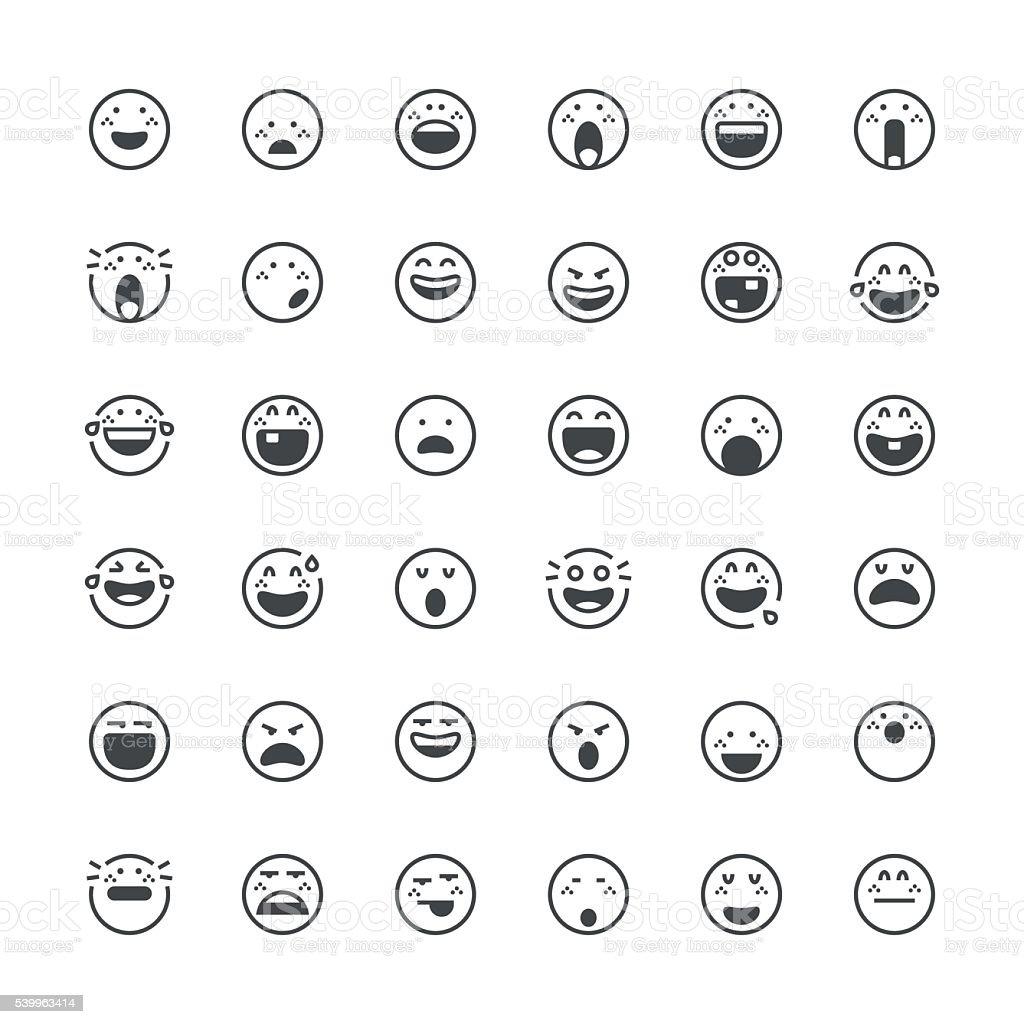 Emoticons série de 14/fina linha series - ilustração de arte em vetor