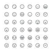 Set of 36 thin line designed emoticons