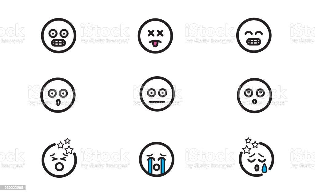 Emoticons set 3 vector art illustration