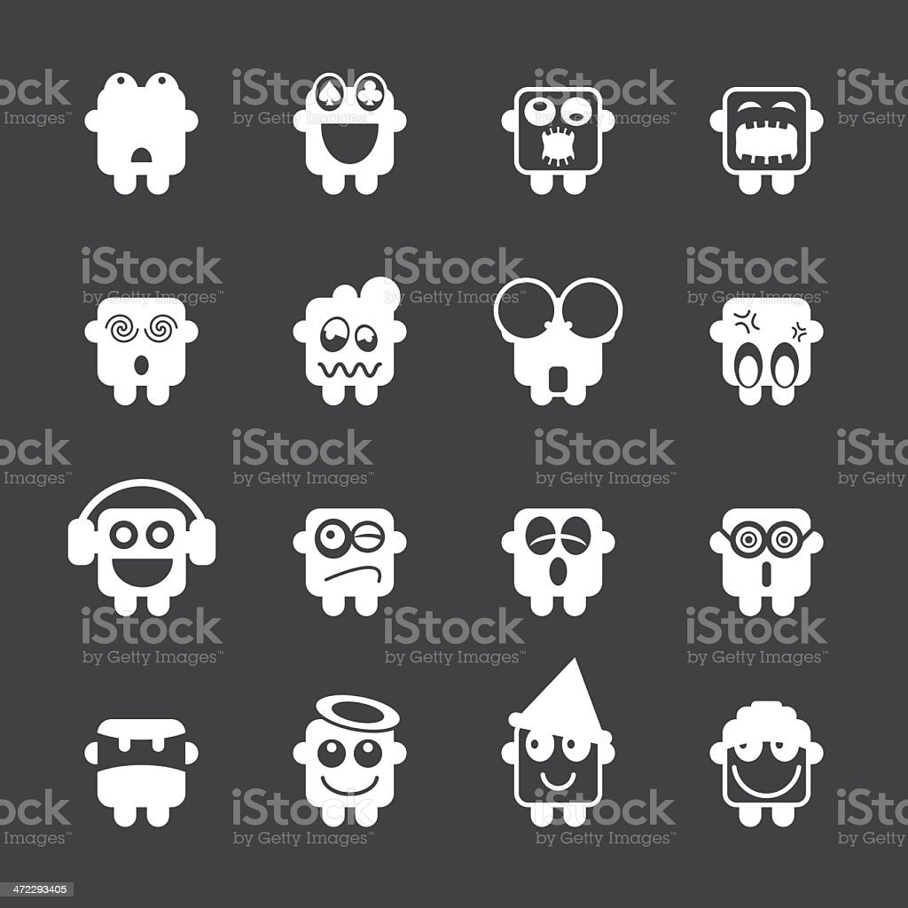 Emoticons Set 3 - White Series | EPS10 royalty-free emoticons set 3 white series eps10 stock vector art & more images of angel