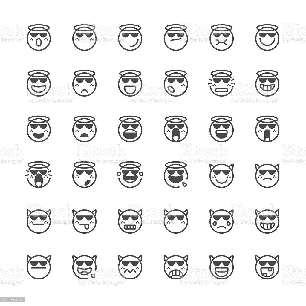 Emoticons set 41   Thin Line series vector art illustration