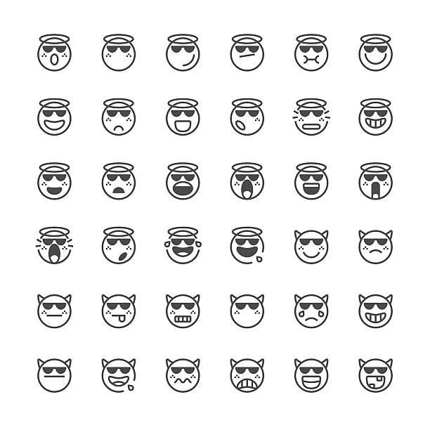 Emoticons set 41 | Thin Line series Set of 36 thin line emoticons dazzled stock illustrations