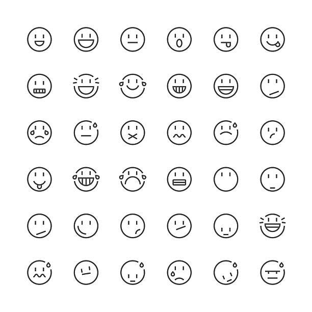 Emoticons Juego de 5/línea fina serie - ilustración de arte vectorial